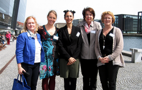 Marianne Lundberg, Minerva Foundation; Elin Kjeldstadli Hatlestad, Centre for Equality; Beatriz Hernandez de Fuhr, KVINFO; Kristina Nasenius, Minerva Foundation; and Goro Ree-Lindstad, Centre for Equality in windy spring weather in Copenhagen. Photo: Jørgen Poulsen